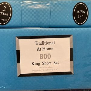 Traditional At Home 6pc King Sheet Set robin blue
